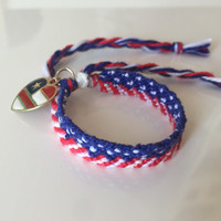 American flag red white and blue friendship bracelet