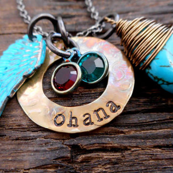 Personalized Washer Necklace, Birthstone jewelry, Angel wing charm necklace