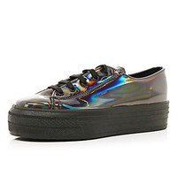 SILVER HOLOGRAPHIC LACE UP FLATFORMS