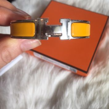 Authentic Hermes Clic H Bracelet Orange *NEW* Size PM