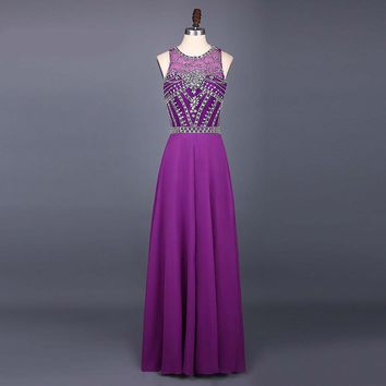New Fashion Sexy High Neck See Through Beaded Prom Dresses A Line Floor Length Long Party Dress Evening Dresses