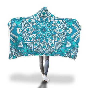 Blue Boho Hooded Blanket - by Bare Culture Apparel