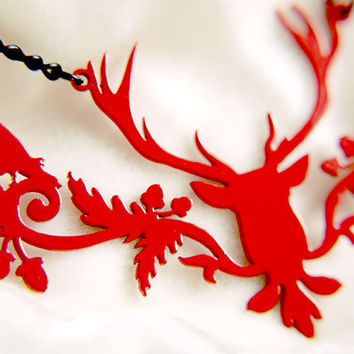 PREORDER - Deer Raven silhouette necklace in red stainless steel - stag with crows jewelry