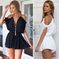 Cold Shoulder Summer Romper in Black or White
