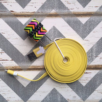 New Super Cute Jeweled Multi Colored ZigZag Designed USB Wall Connector + 10ft Flat Yellow iPhone 5/5s Cable Cord Super Long