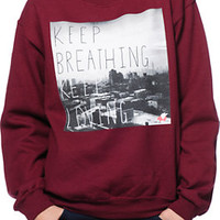 Glamour Kills Keep Breathing Maroon Crew Neck Sweatshirt at Zumiez : PDP