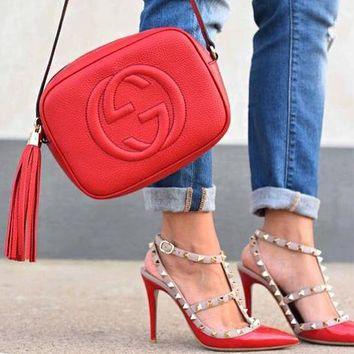 GUCCI Hot Selling Fashion Lady Big Double G tassels Bag Red