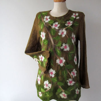 Brown tunic Jersey sweater  felt white flower felted aplication Nuno Felted tunic  Apple Blossoms By Galafilc