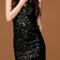 Black Over-all Sequins Bodycon Party Dress with Lining - Choies.com