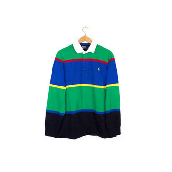 90s RALPH LAUREN polo shirt - vintage 1990s - rugby - long sleeves - soft fleece lined - bold primary colors - mens L