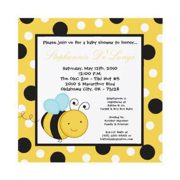 5x5 Buzzin Honey Bumble Bee Baby Shower Invitation from Zazzle.com