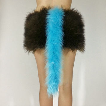 Light Blue Fur Tail- FREE SHIPPING: Handmade Fur Costume Tail Long Tail Sky Blue Tail Halloween, Raves, Cosplay Blue Tails, Long Blue Tail