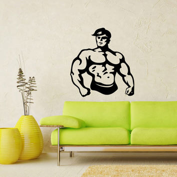 Bodybuilder Fitness Model Man Sport Sportsman Gym Wall Vinyl Decal Sticker Housewares Design Art Murals Interior Decor Home Bedroom SV5182
