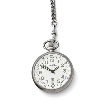 Mens Chisel Stainless Steel White Dial Pocket Watch