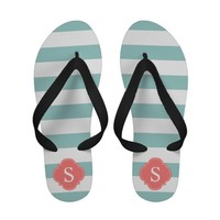 Coral and Mint Horizontal Stripes Monogram Flip Flops