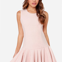 JOA Warm and Fuzzy Blush Pink Drop Waist Dress