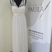 New Arrivals Shira Wedding Dress White Lace Wedding Gown Silk Ribbon