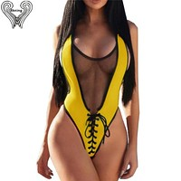 Bkning Black Mesh One Piece Swimsuit Thong Women Swimwear 2018 High Cut Swimming Suits Female Bodysuit Sexy One Piece Swim Suits