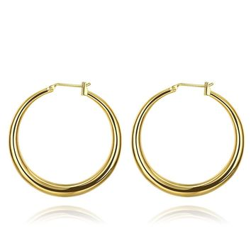 Simple Silver Gold Color Round Hoop Earrings For Woman Glossy Earring Party Jewelry Accessories ZK90