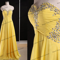 Sweetheart Sheer Yellow Strapless Beads Embellished Bust A line Long Evening Gown,gown ball,long evening dress,prom dress for girl