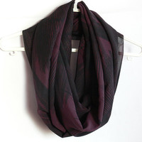 Infinity Scarf. Black and Purple Scarf. Eternity Scarf. Circle Scarf. Women Accessory.