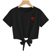 Embroidery Rose Print T Shirts