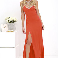 Bridgetown Beauty Coral Red Maxi Dress