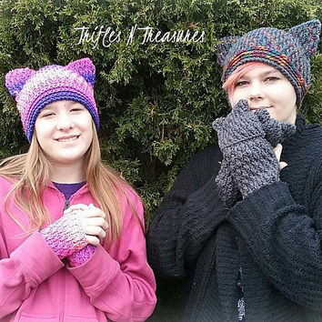 Cat Hat & Kitten Mittens and Wristers Set~Crochet Pattern~PDF Download
