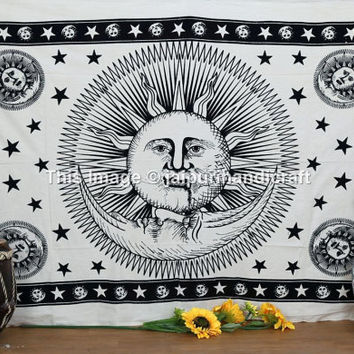Twin White Sun Moon Tapestry, Psychedelic Tapestry, Hippie Tapestries, Bohemian Wall Tapestries, Wall Decor, Sun and Moon Bohemian Tapestry
