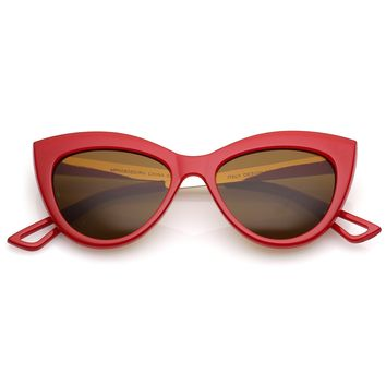 Bold 50's Fashion Oval Cat Eye Sunglasses With Metal Arms 51mm