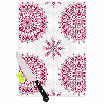 "Julia Grifol ""Geometric Mandalas"" Red White Cutting Board"