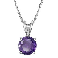 """Sterling Silver Round Amethyst Pendant Necklace with Light Rope Chain Necklace, 18"""""""