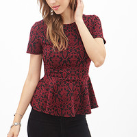 FOREVER 21 Damask Print Peplum Top Burgundy/Black