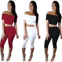 Strapless Short Sleeves Crop Top 3/4 Pants Two Pieces Set