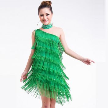 Women Beaded One Shoulder Layers Fringe Gatsby Flapper Dress Sexy Irregular Tassel Hem Latin Dance Dress Party Dance wear