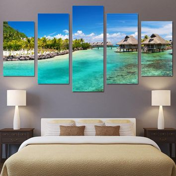 5 piece wall art HD print Seasight seascape beach wooden house Panel Picture