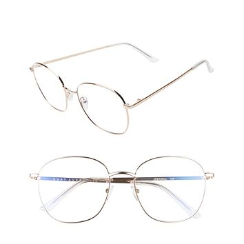 Quay Australia - Jezabell Blue Filter Glasses - Gold/Clear