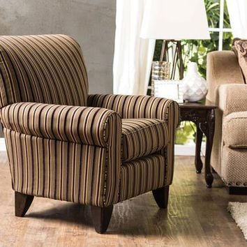 Galeena Contemporary Rolled Arm Accent Chair in Tan