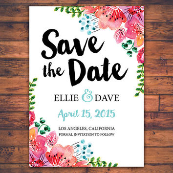 Floral Save The Date Wedding Invitation Card Handwritten Script Romantic Watercolor Flower DIY Digital Print Printable Invite Card