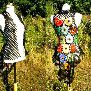 RESERVED for Kate! Rainbow Flower Vest - Upcycled Sweater - Eco Friendly Clothing - Hippie - Recycled Crochet