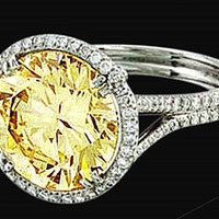Yellow canary center diamond ring 4.50 carat diamonds wedding ring gold
