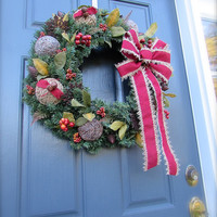 Christmas Door Wreaths Burlap Christmas Wreath Brown Holiday Wreaths Rustic Wreaths