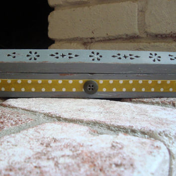 Gray and Yellow Polka Dot Incense Burner/Coffin, Incense Cone Holder. Cottage Chic/Shabby Chic, Decorative Yellow and Gray Wooden Box