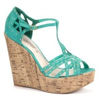 New Look Mobile | Mint Green Stud T-Bar Cork Wedge Sandals