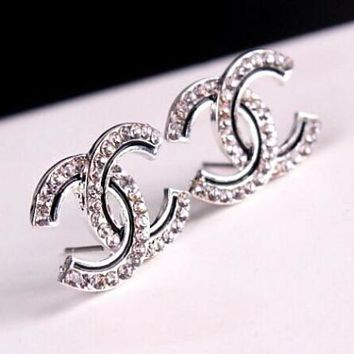 "Hot Sale ""Chanel"" Popular Women Double C Letter Diamond Earrings Water Drill Earring I12846-1"