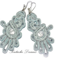 Sparkly Baby Blue Soutache Earrings, Dangle Earrings, Handmade Soutache Earrings, Unique Jewelry, Glamour Earrings, Gift For Her