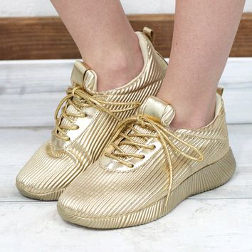 Get Your Shine On Sporty Sneakers {Metallic Gold}