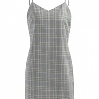 Half Buttoned Plaid Slip Dress