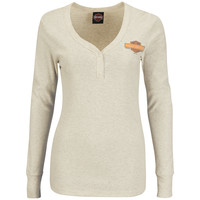 Harley-Davidson® | 5E01-H16H | Harley-Davidson® Womens Classic Trend Henley With Cuffs Natural Long Sleeve V-Neck