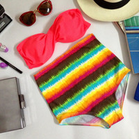 New vintage limited edition high waist hot 2 in 1 neon pink and colorful stripe summer bottoms women set handmade 100%